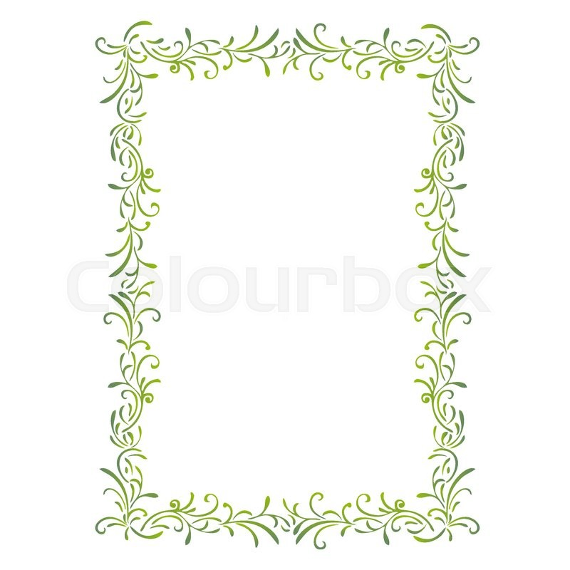 Simple Green Frame The Portrait Of Stock Vector