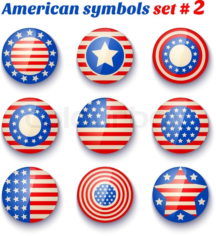 Vector Set Icons With Symbols Of The Usa Fof 4th July American