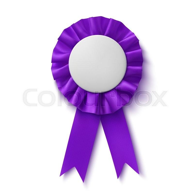 blank realistic purple fabric award ribbon isolated on white