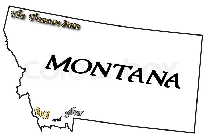 a montana state outline with the slogan and motto isolated on a