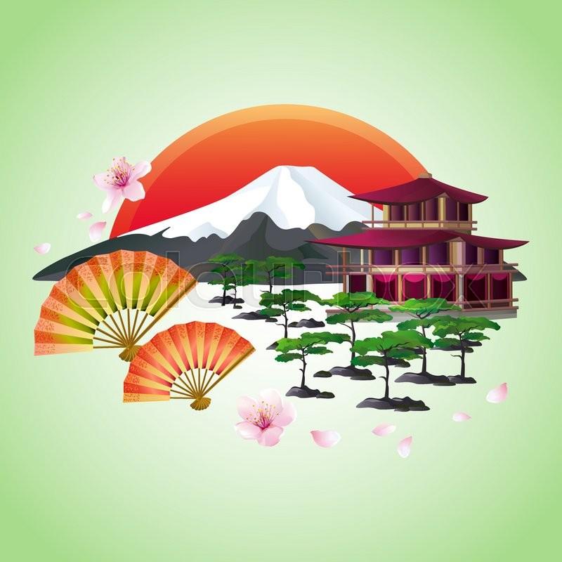 Beautiful Japanese Background With Sakura Blossom Japanese Cherry