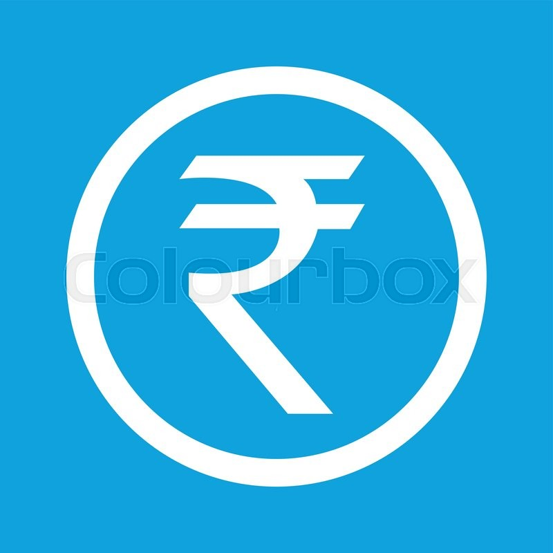 Indian Rupee Symbol In Circle Isolated On Blue Stock Vector