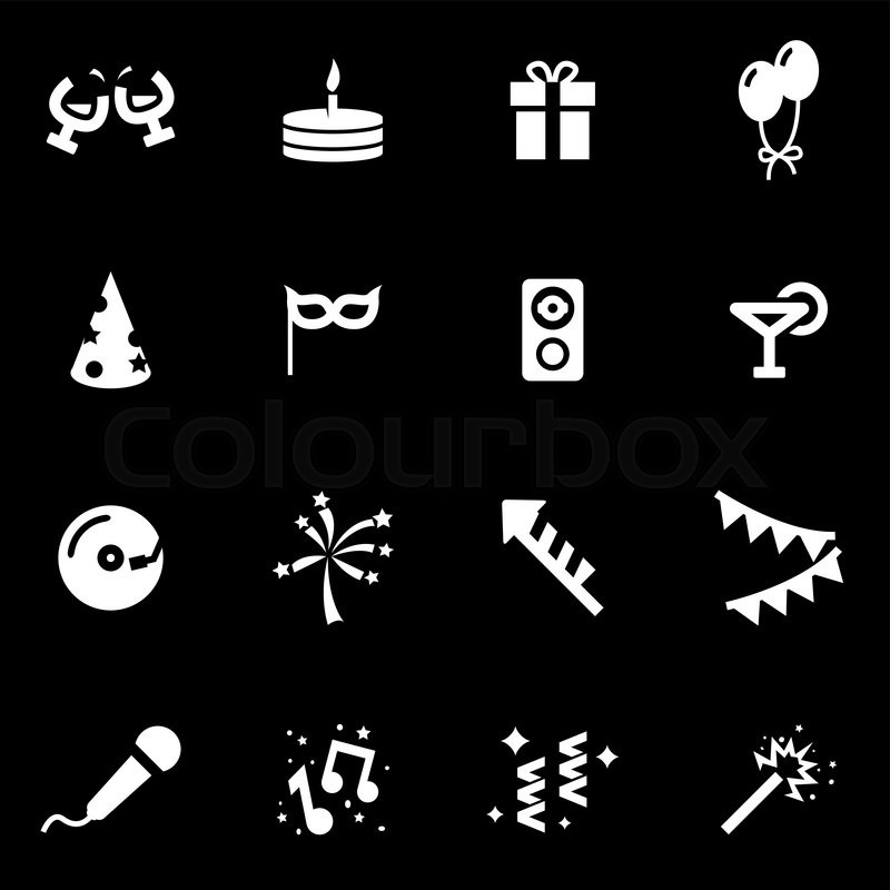 vector white party icon set on black background stock vector