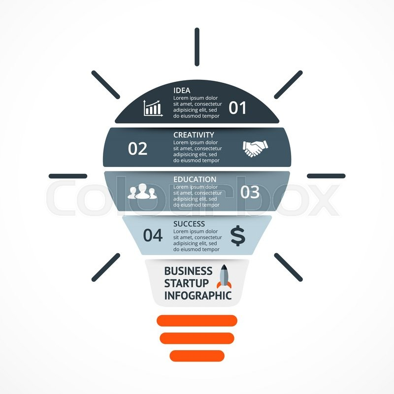 Vector light bulb infographic template for circle diagram graph template for circle diagram graph presentation and round chart business startup idea concept with 4 options parts steps or processes maxwellsz