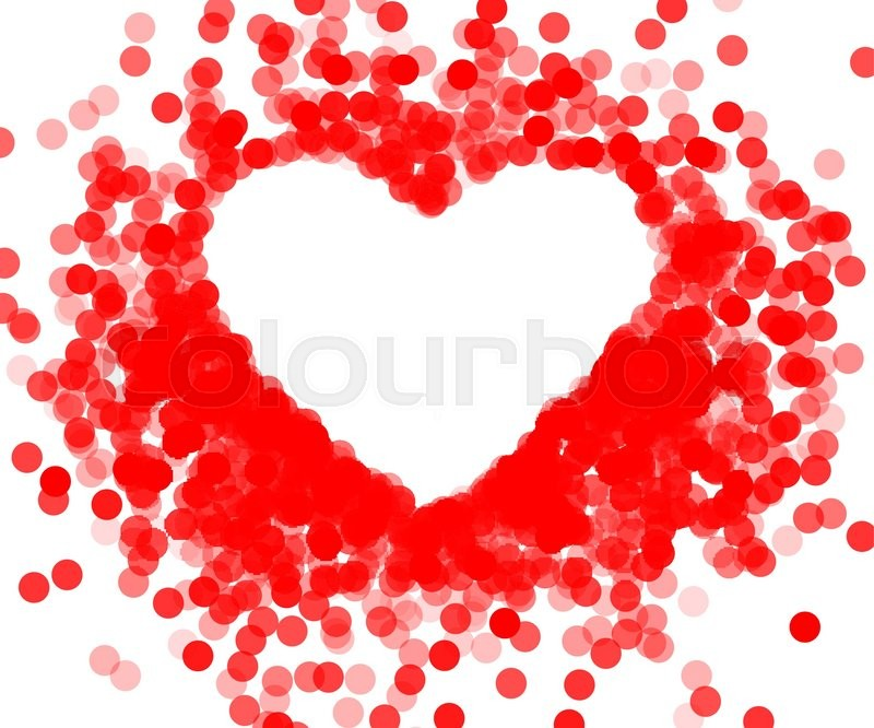 Red frame with shiny heart, frame heart-shaped confetti | Stock ...