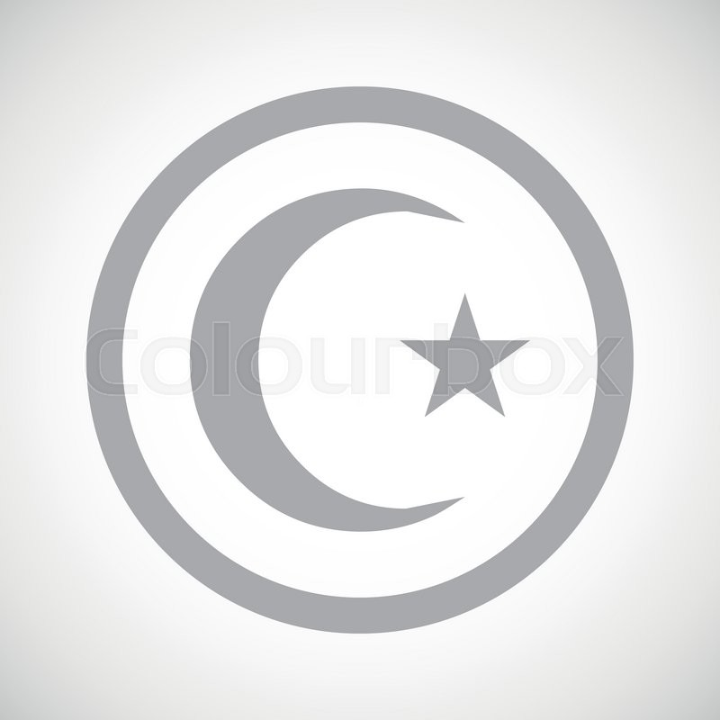 Grey Image Of Crescent Moon And One Star In Circle On White