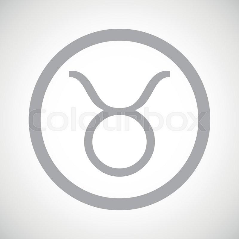 Grey Taurus Zodiac Symbol In Circle On White Gradient Background