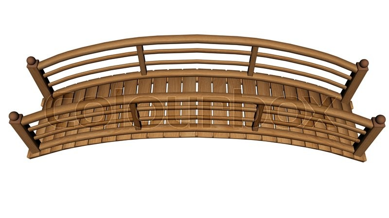 Garden Bridge Made Of Wood Isolated In White Background   3D Render | Stock  Photo | Colourbox