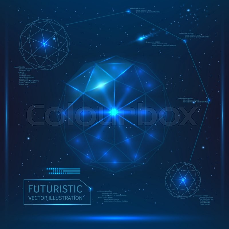 Futuristic Interface Vector Glass Sphere With Triangles Space Background
