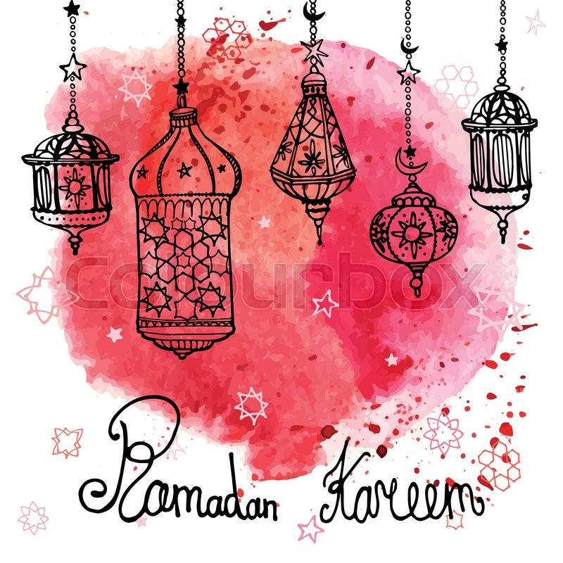 Traditional lantern of ramadan kareem odle greeting card with traditional lantern of ramadan kareem odle greeting card with watercolor red splashslim communityhand drawing hanging arabic lamp star and moon m4hsunfo