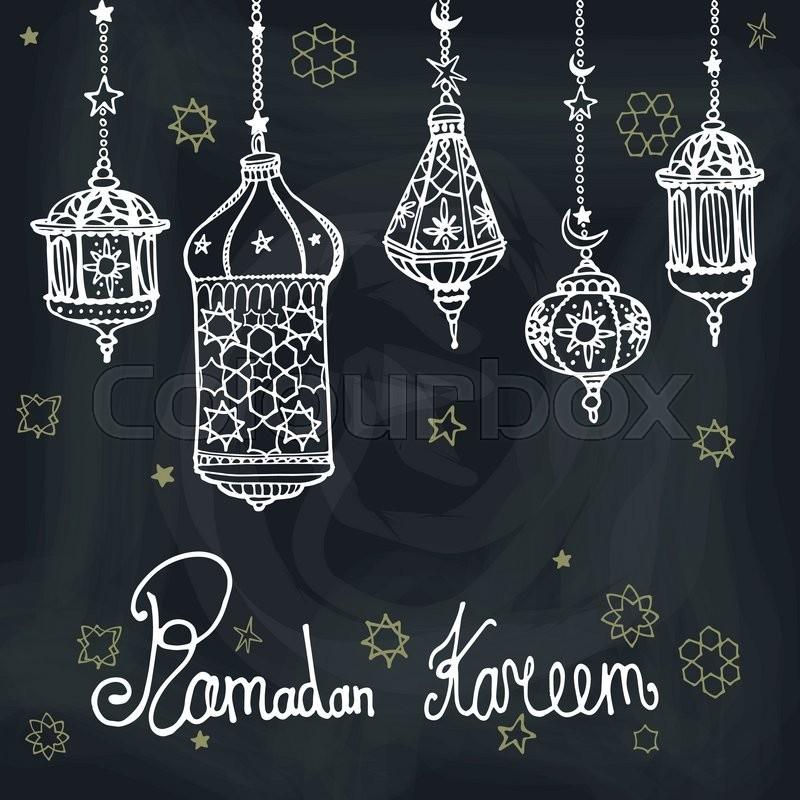Traditional lantern of ramadan kareem odle greeting card holy traditional lantern of ramadan kareem odle greeting card holy month of muslim communityhand drawing hanging arabic lamp star and moon on blue m4hsunfo