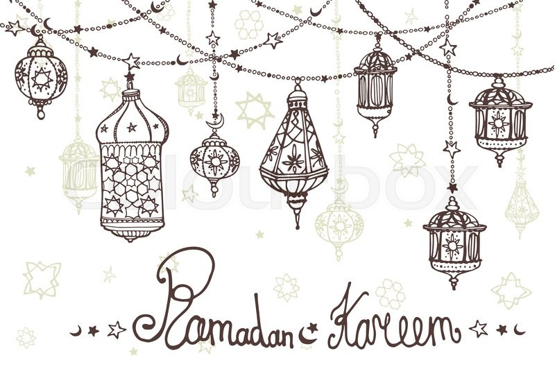 Traditional lantern garland of ramadan kareem odle greeting card doodle greeting card holy month of muslim communityhand drawing hanging arabic lamp star and moon horizontal vector background stock vector m4hsunfo