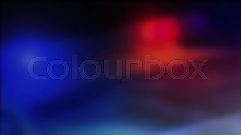 Police Car With Red And Blue Lights Flashing In Dark, Video
