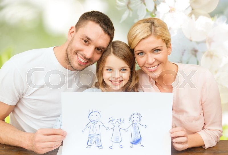 People, happiness, adoption and childhood concept - happy family with drawing or picture over green cherry blossom background, stock photo