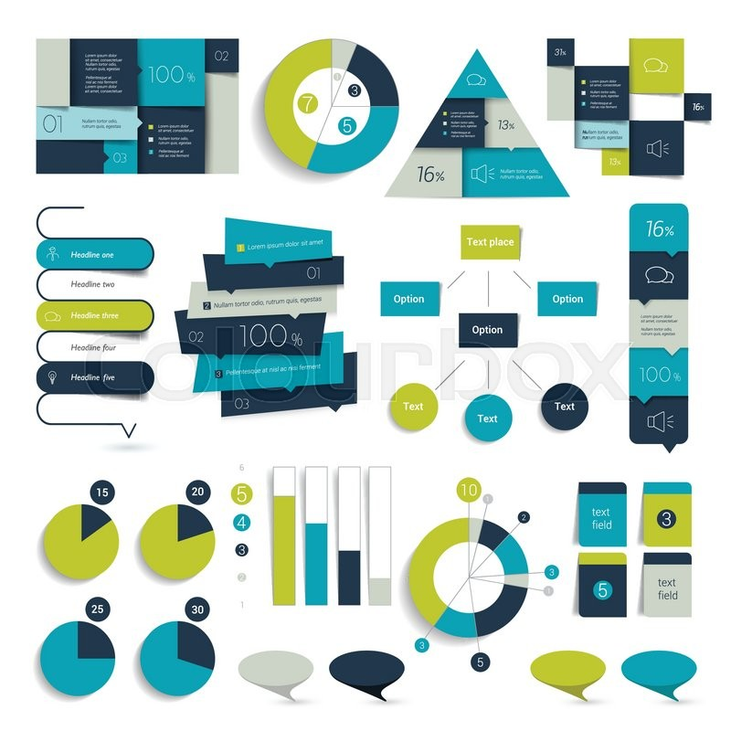 set of blue infographics elements schedules tabs banners charts minimalistic vector design infographic vector