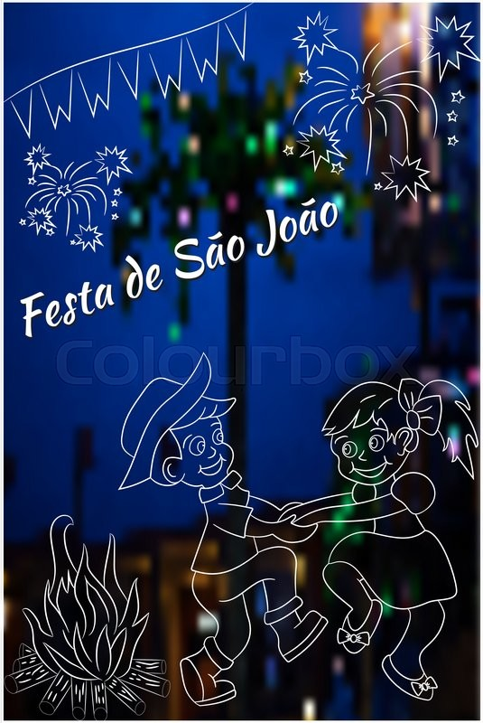 Cute hand drawing festa junina vector elements on blurred night latin american holiday the june party of brazil st johns party can be used for cards invitations wallpaper pattern fills m4hsunfo