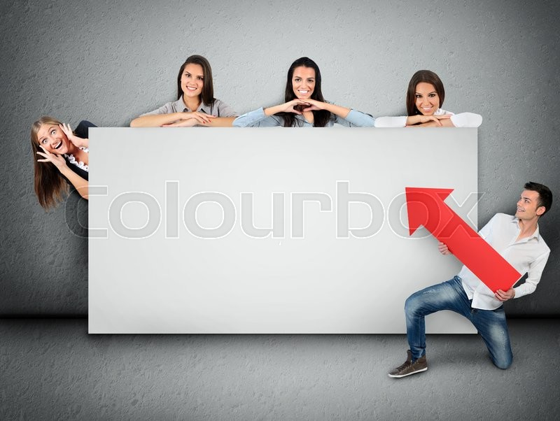 Empty banner with five people, stock photo