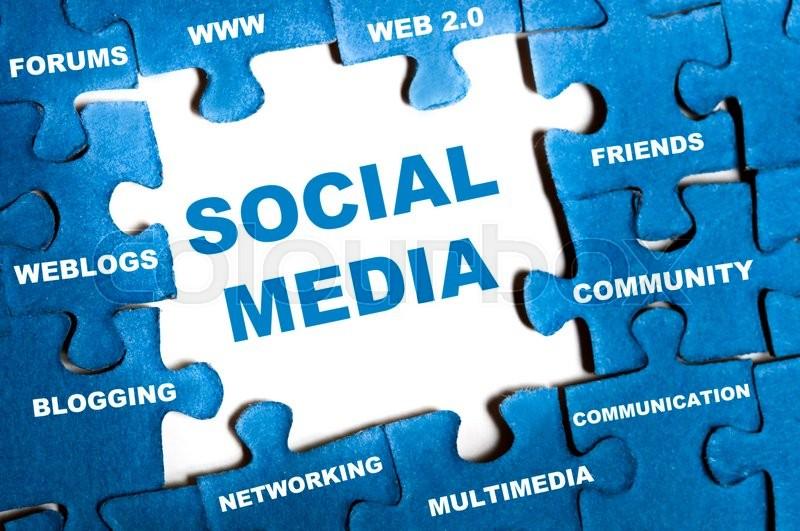 Social media blue puzzle pieces assembled, stock photo