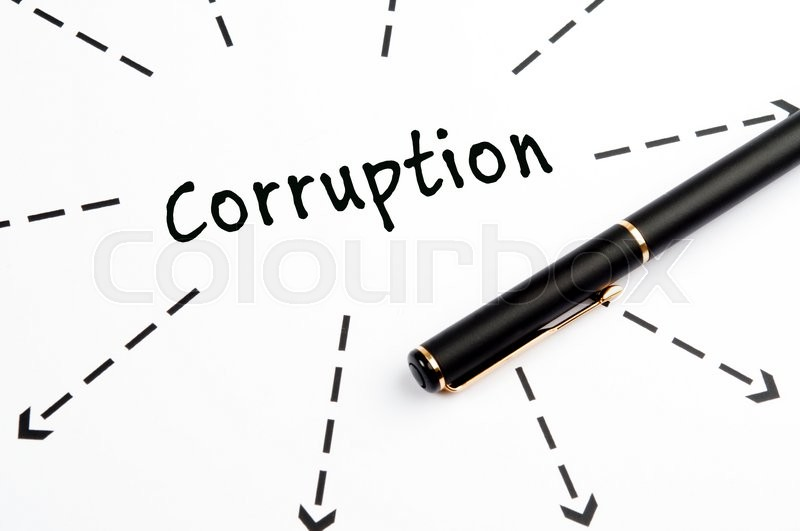 Corruption word wih arrows and pen, stock photo