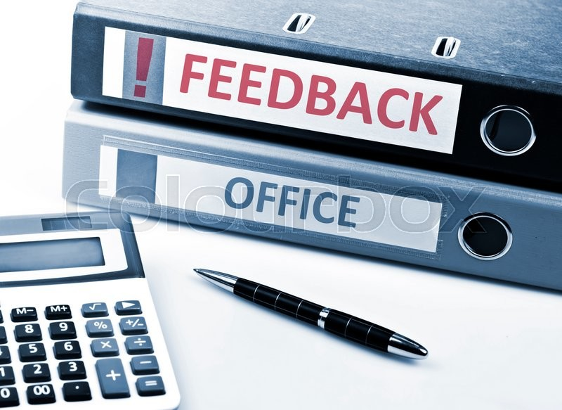 Feedback write on folder and office tools, stock photo