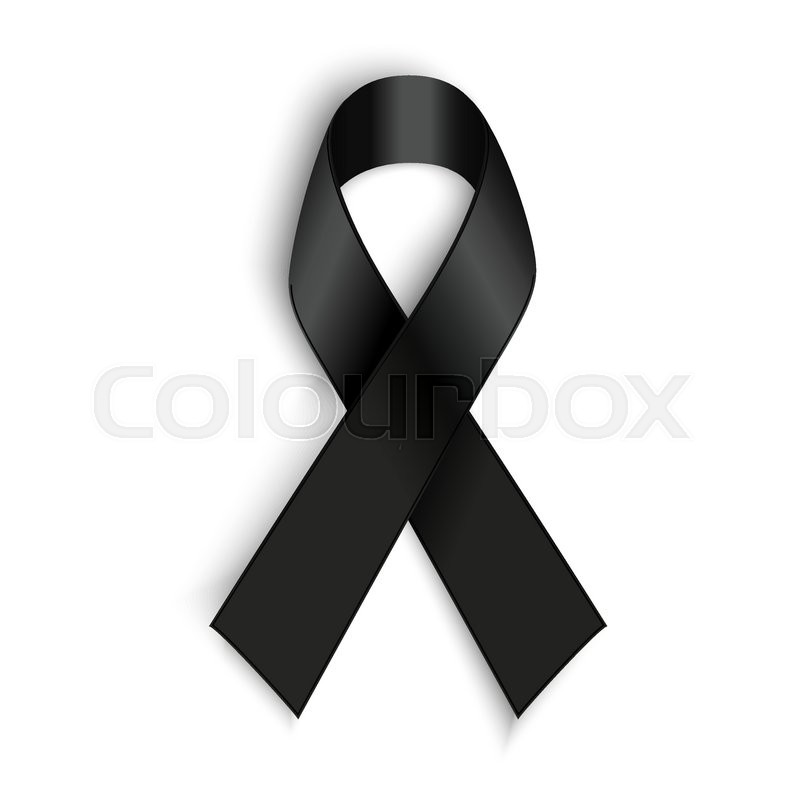 Vector Black Awareness Ribbon On White Background Mourning And
