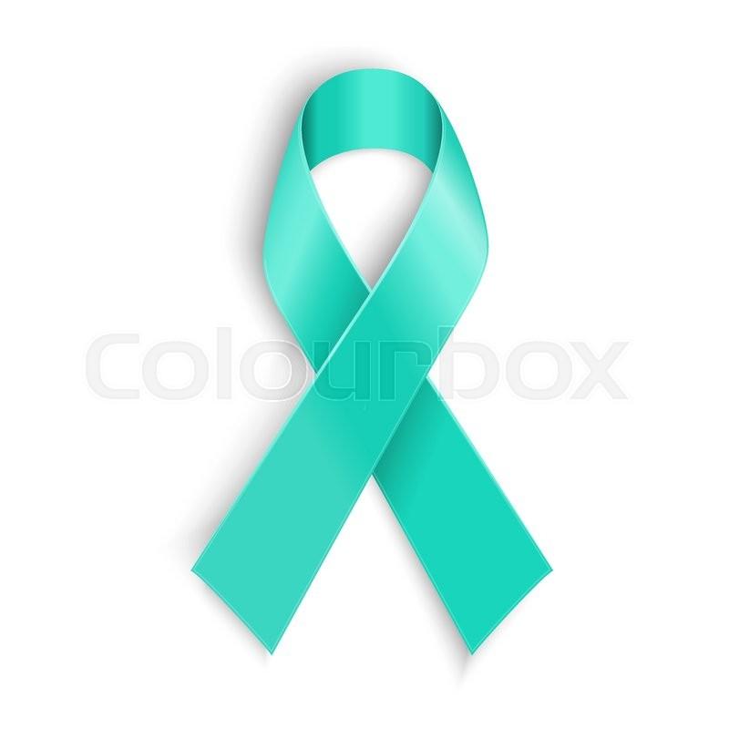Teal Ribbon Symbol Of Scleroderma Ovarian Cancer Food Allergy