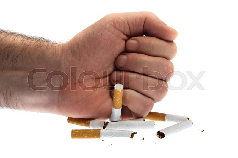 Stock image of 'Punch in cigarettes on white'