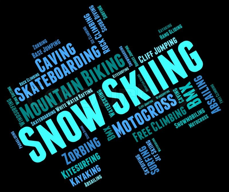 Snow Skiing Means Winter Sports And Mountain-Skier, stock photo