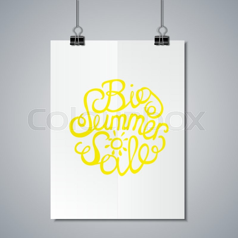 poster mockup template with lettering element big summer sale