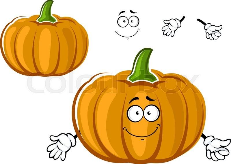 Ripe autumn orange garden pumpkin vegetable cartoon character with ripe autumn orange garden pumpkin vegetable cartoon character with rounded segments for agriculture or halloween party design stock vector colourbox thecheapjerseys Gallery