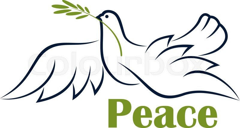 Flying Dove With Olive Branch As Symbol Of Peace In Outline Sketch