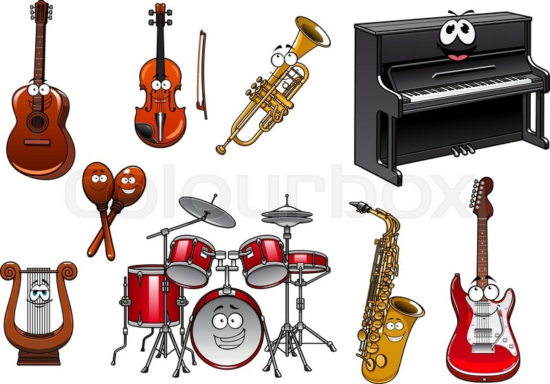 Cartoon Violin Images: Funny Cartoon Musical Instruments Characters With Upright