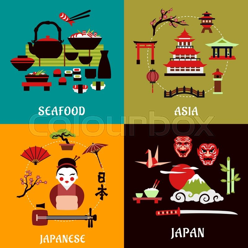 Japanese Culture History And Cuisine Flat Designs With Seafood Menu