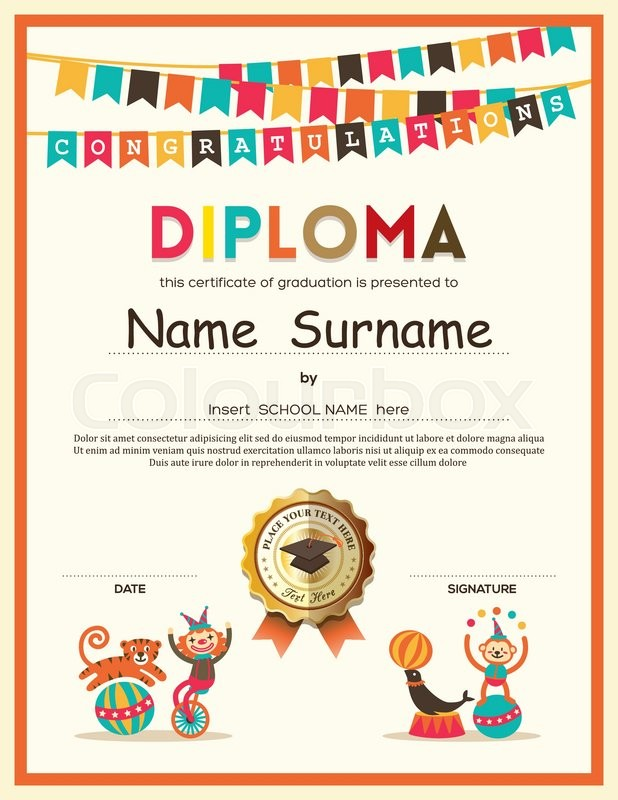 Preschool elementary school kids diploma certificate template with preschool elementary school kids diploma certificate template with bunting flags background design stock vector colourbox yelopaper Gallery