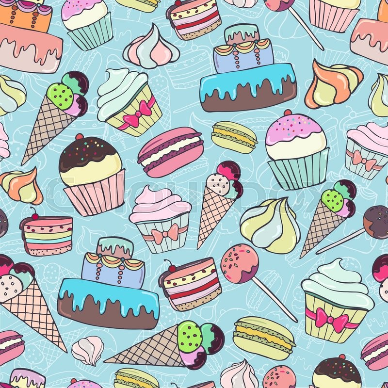 Ice Cream Background Sparking Shiny Decoration Free Vector: Seamless Pattern With Colorful Sweets And Pastry On Blue