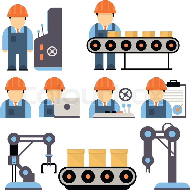 Operator Control Levers Clip Art : Production process installation of engineering equipment