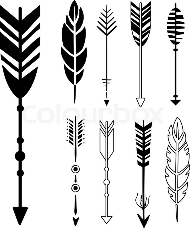Set Of Cute Hipster Arrows Hand Drawn Stock Vector
