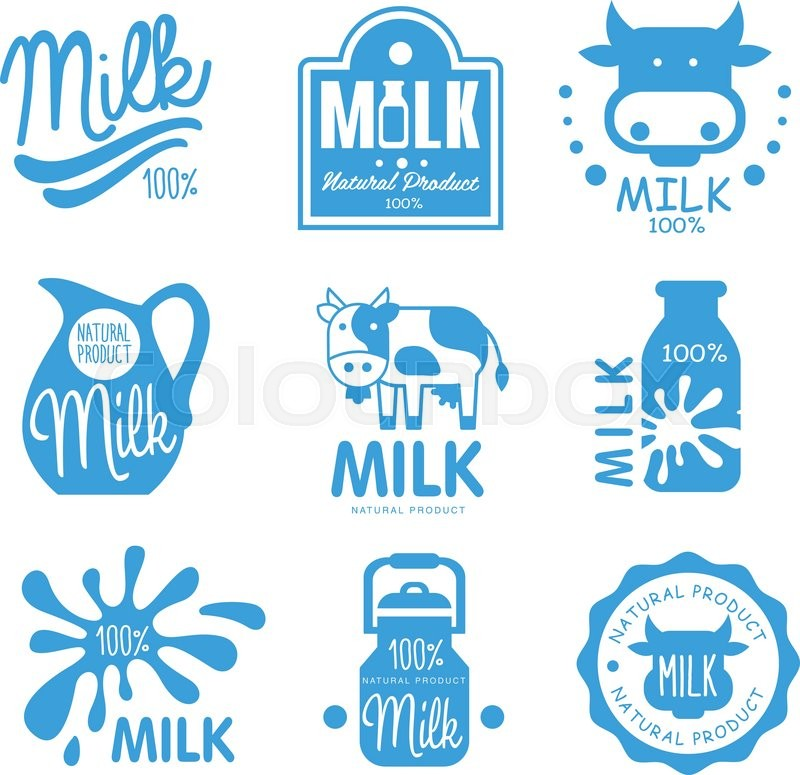Blue And White Milk Symbols Icons Or Logos For Dairy Farm Food Design