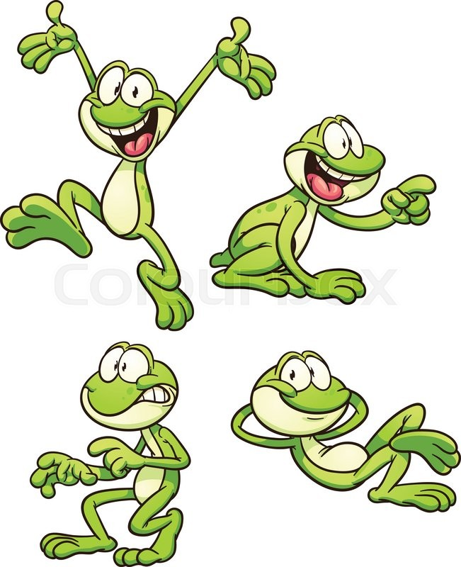 cartoon frog in different poses vector clip art illustration with rh colourbox com Turtle Vector Black and White Frog Vector