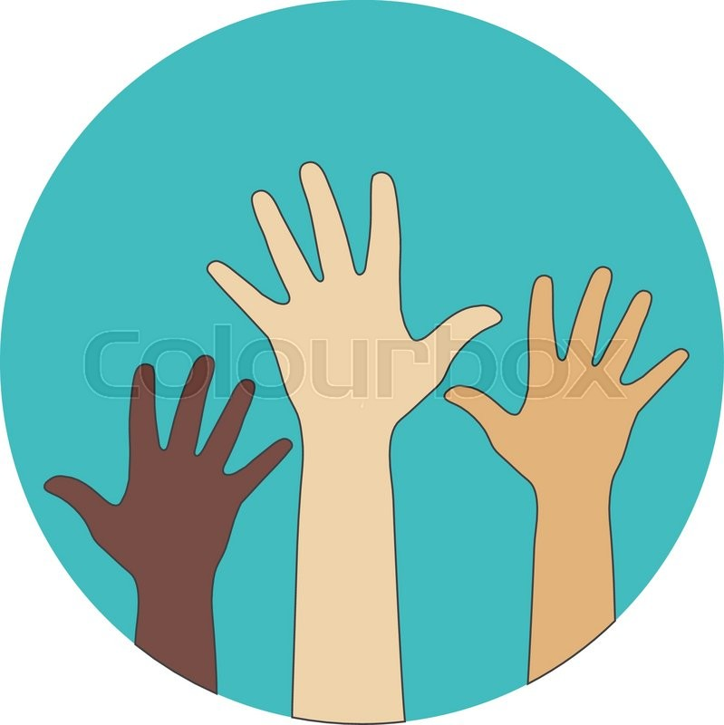 Circle Flat Icon Hands Raised Up Concept Of Volunteerism Multi