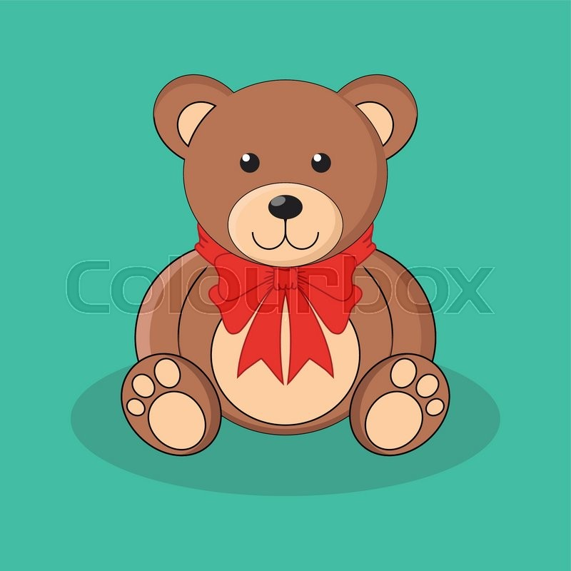 Cute brown teddy bear toy with red bow. Vector ...