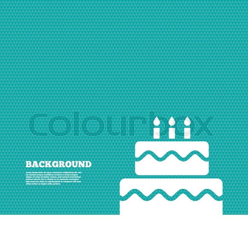 Background With Seamless Pattern Birthday Cake Sign Icon Cake With Burning Candles Symbol Triangles Green Texture Vector Stock Vector