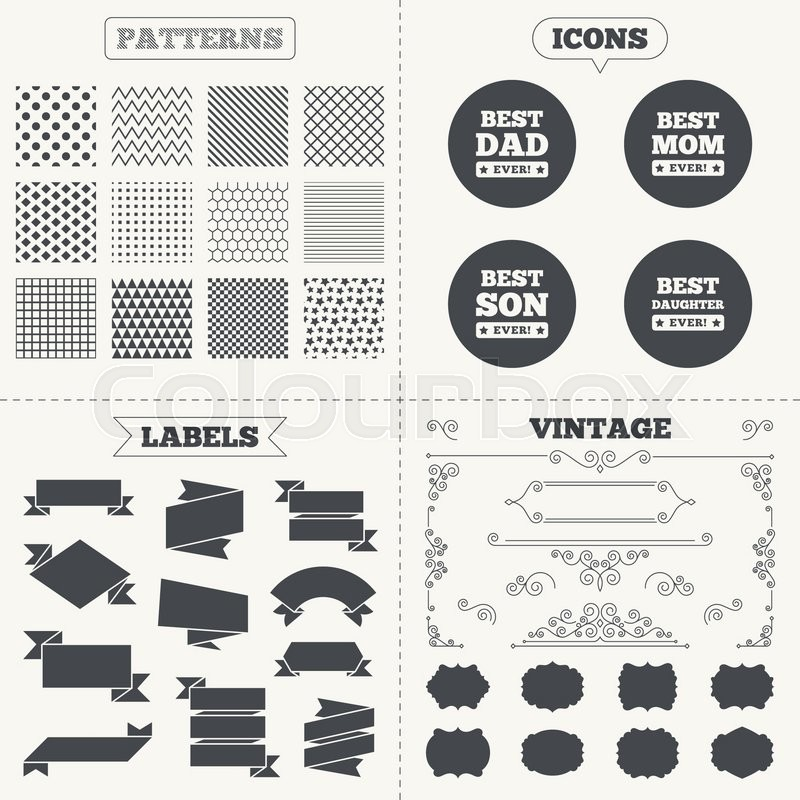 Seamless Patterns Sale Tags Labels Best Mom And Dad Son And