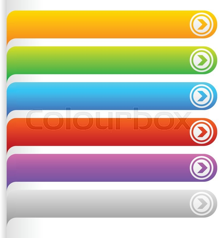 Colorful button/banner templates. Horizontal bars with blank space ...