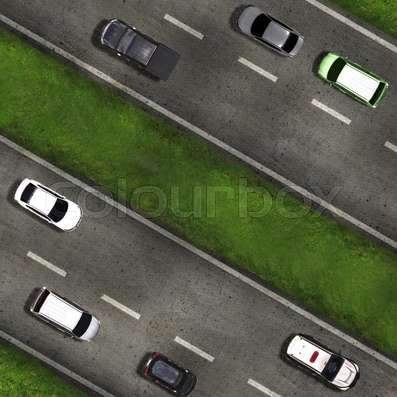 Aerial view over the road and highway, stock photo