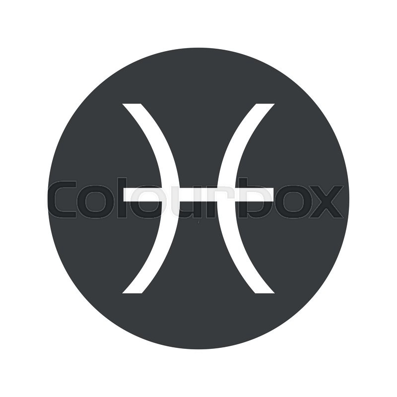 Image Of Pisces Zodiac Symbol In Black Circle Isolated On White