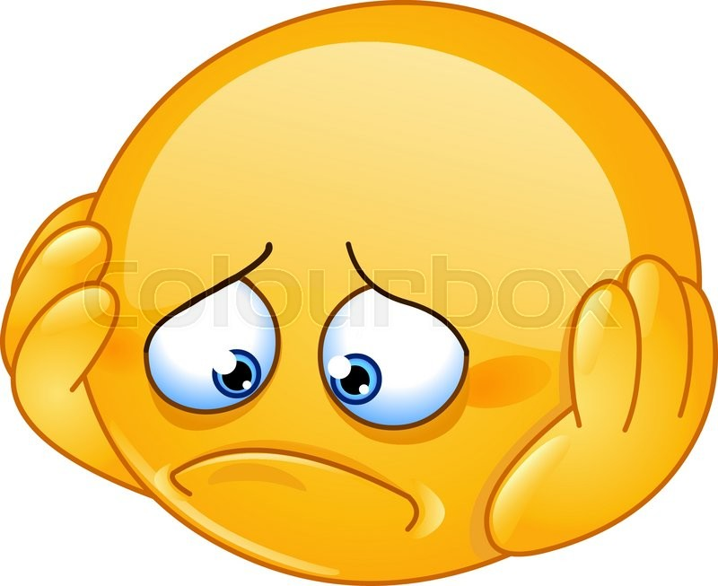 Depressed And Sad Emoticon With Hands On Face Stock Vector Colourbox