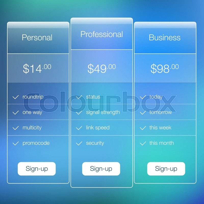 modern user interface screen price signup template for mobile
