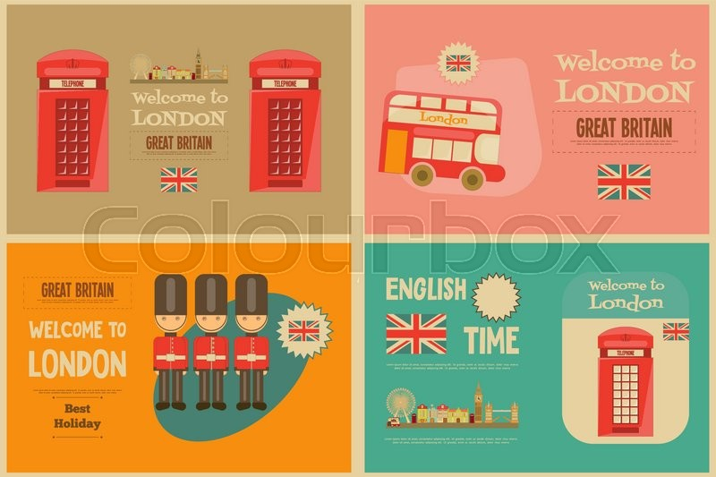 Vector illustration of london city 2 royalty free stock photography - London English Mini Posters Collection With British Theme