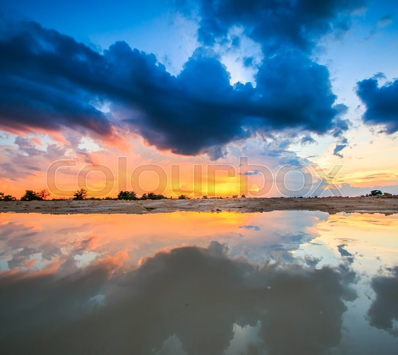 Sunset blue sky and clouds Storm clouds backgrounds, stock photo